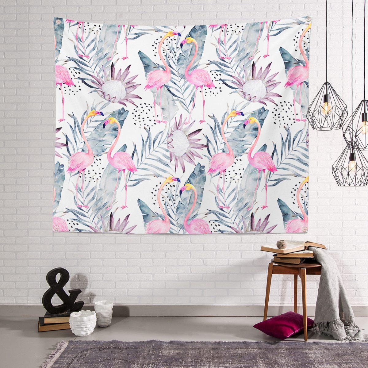 Özel Tasarım Flamingo Desenli Dijital Baskılı Duvar Halısı Realhomes