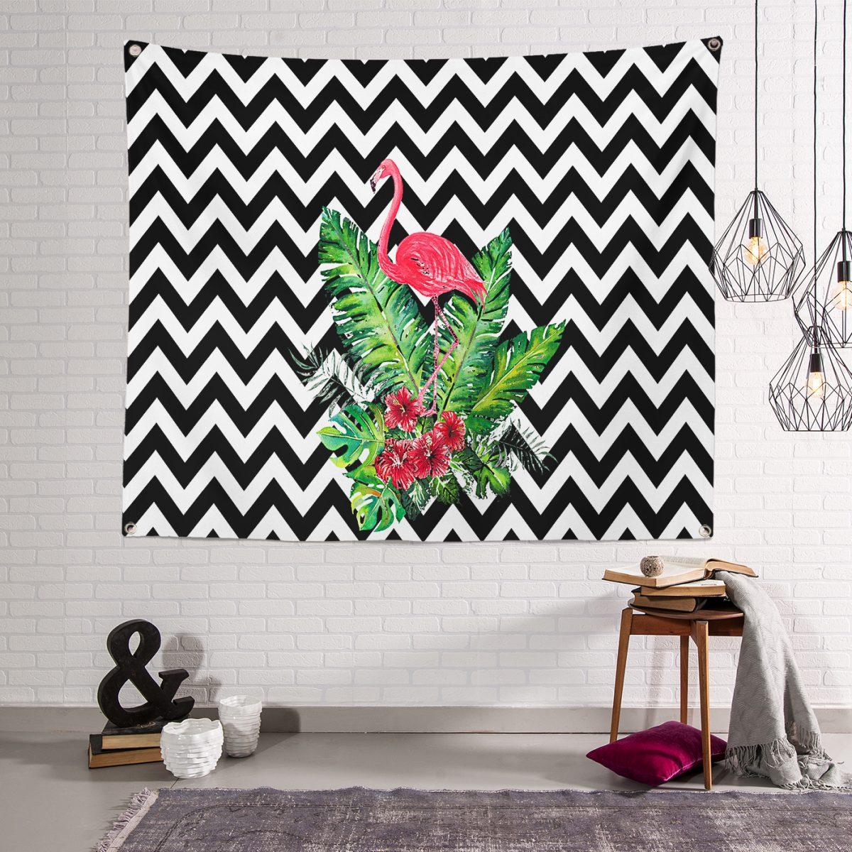 Zigzag Zeminde Flamingo Desenli Özel Tasarım  Dijital Baskılı Tapestry Duvar Örtüsü Realhomes