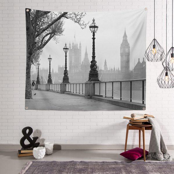 RealHomes Black and White Dijital Baskılı Tapestry Duvar Örtüsü Realhomes