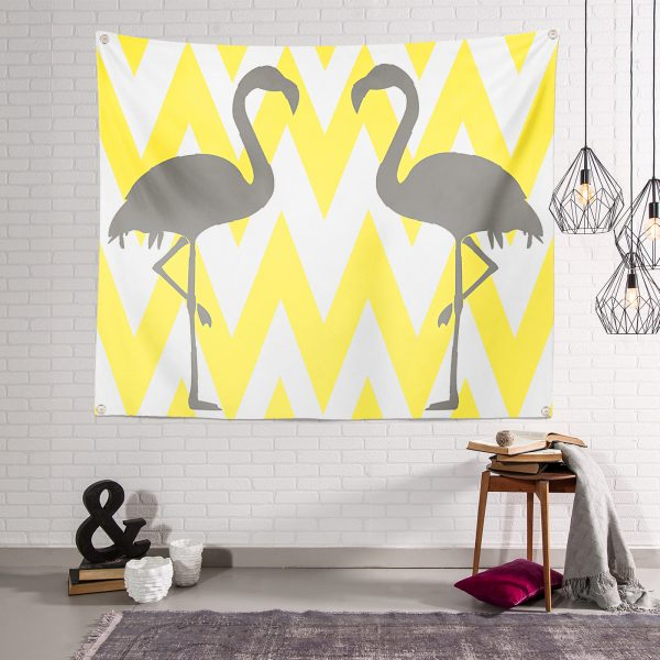 RealHomes Özel Tasarım Beyaz Zemin Zarı Zigzag Flamıngo Dijital Baskılı Tapestry Duvar Örtüsü Realhomes