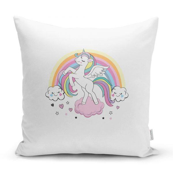Gri Zeminde Magic Unicorn Tasarımlı Çocuk Odası Yastık Kırlent Kılıfı Realhomes