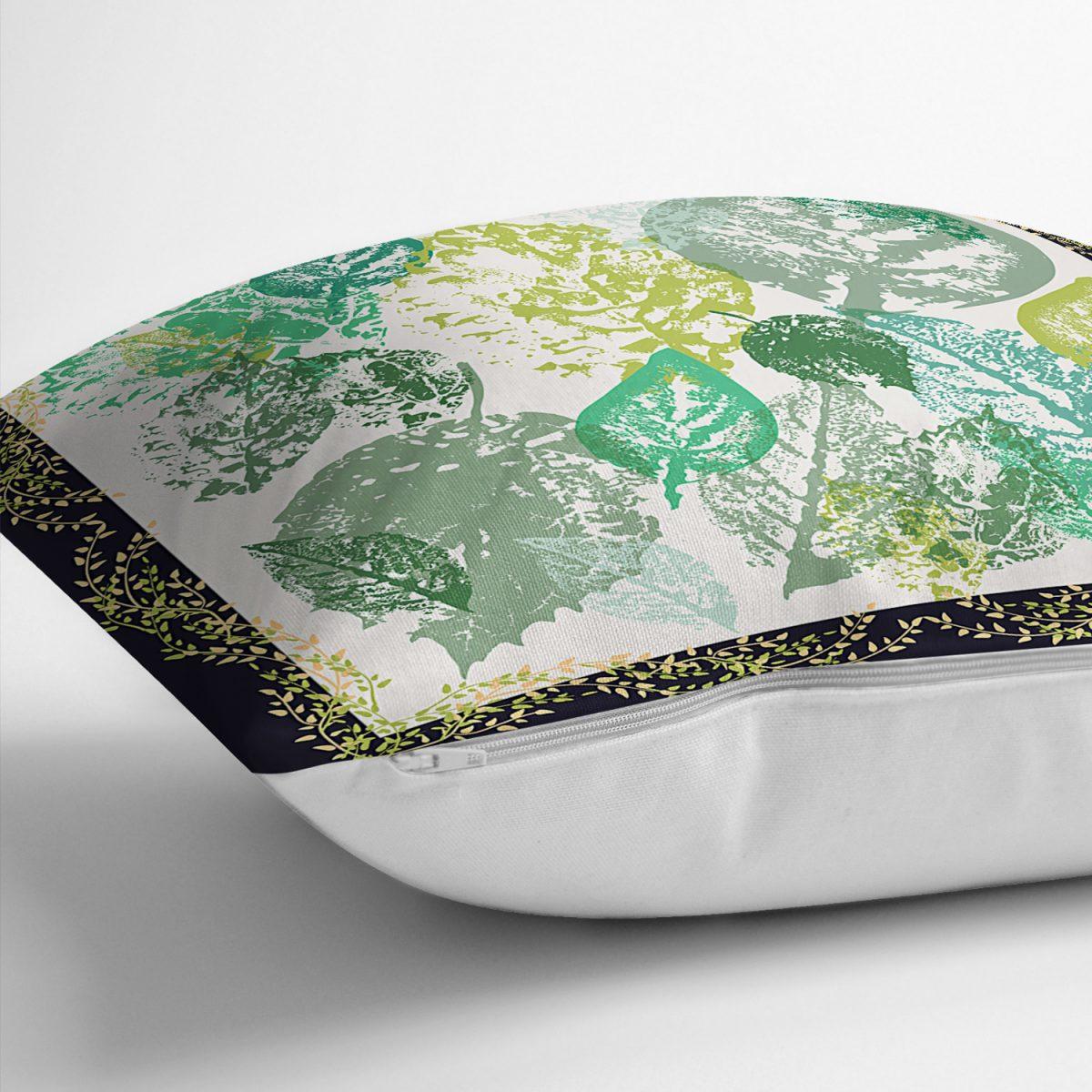 Realhomes Beyaz Zeminde Renkli Yapraklar Dijital Baskılı Modern Yastık Kırlent Kılıfı Realhomes