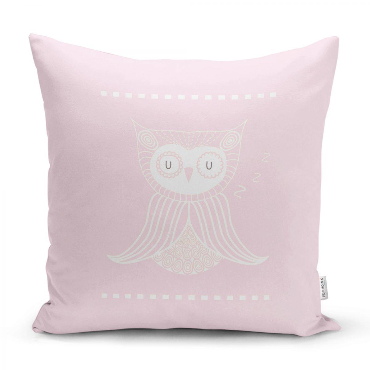 Gri Zeminde Baykuş Özel Tasarımlı Bebek Odası Yastık Kırlent Kılıfı Realhomes