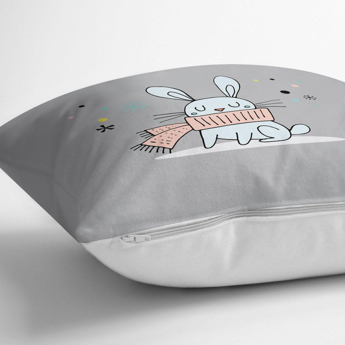 Pembe Zeminde Atkılı Tavşan Motifli Bebek Odası Yastık Kırlent Kılıfı Realhomes