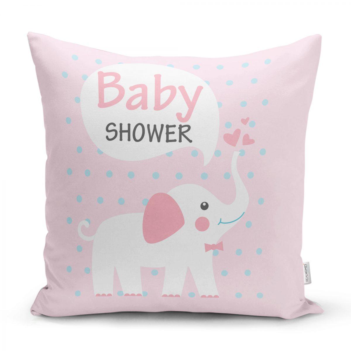 Baby Shower Fil Desenli Dijital Baskılı Bebek Odası Yastık Kılıfı Realhomes