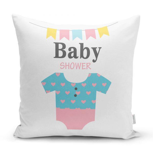 Pembe Zeminde Baby Shower Fil Desenli Dijital Baskılı Bebek Odası Yastık Kılıfı Realhomes