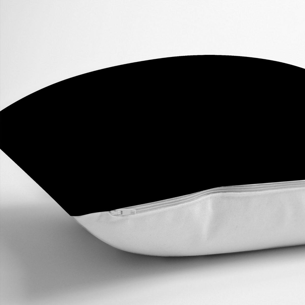 RealHomes Düz Siyah Renkli Dijital Baskılı Yastık Kırlent Kılıfı Realhomes