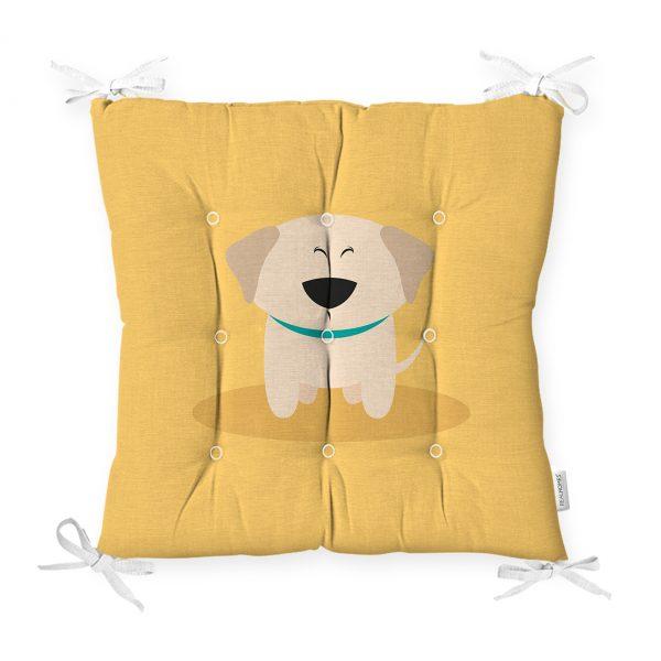Realhomes Köpek Desenli Dijital Baskılı Modern Pofidik Sandalye Minderi Realhomes