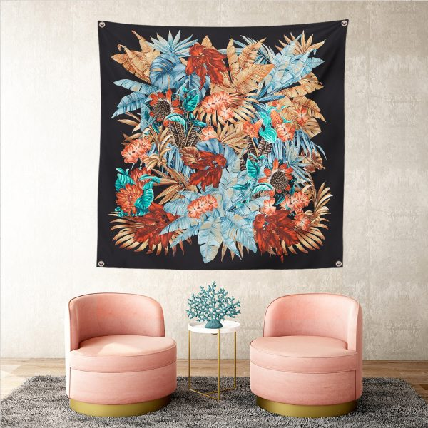 Siyah ve Güllerin Uyumu Realhomes Tapestry Duvar Halısı Realhomes