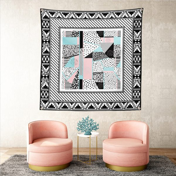 Modern Desenli Özel Tasarım Dijital Baskılı Realhomes Tapestry Duvar Halısı Realhomes