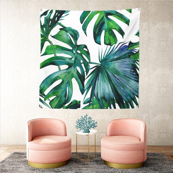 Yeşil Amazon Yaprakları Özel Tasarım Realhomes Tapestry Duvar Halısı Realhomes