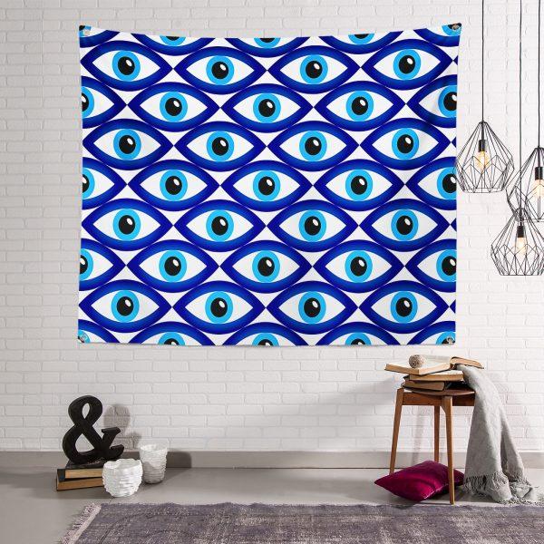 Realhomes Göz Motifli Özel Tasarım Dijtal Tapestry Duvar Örtüsü Realhomes