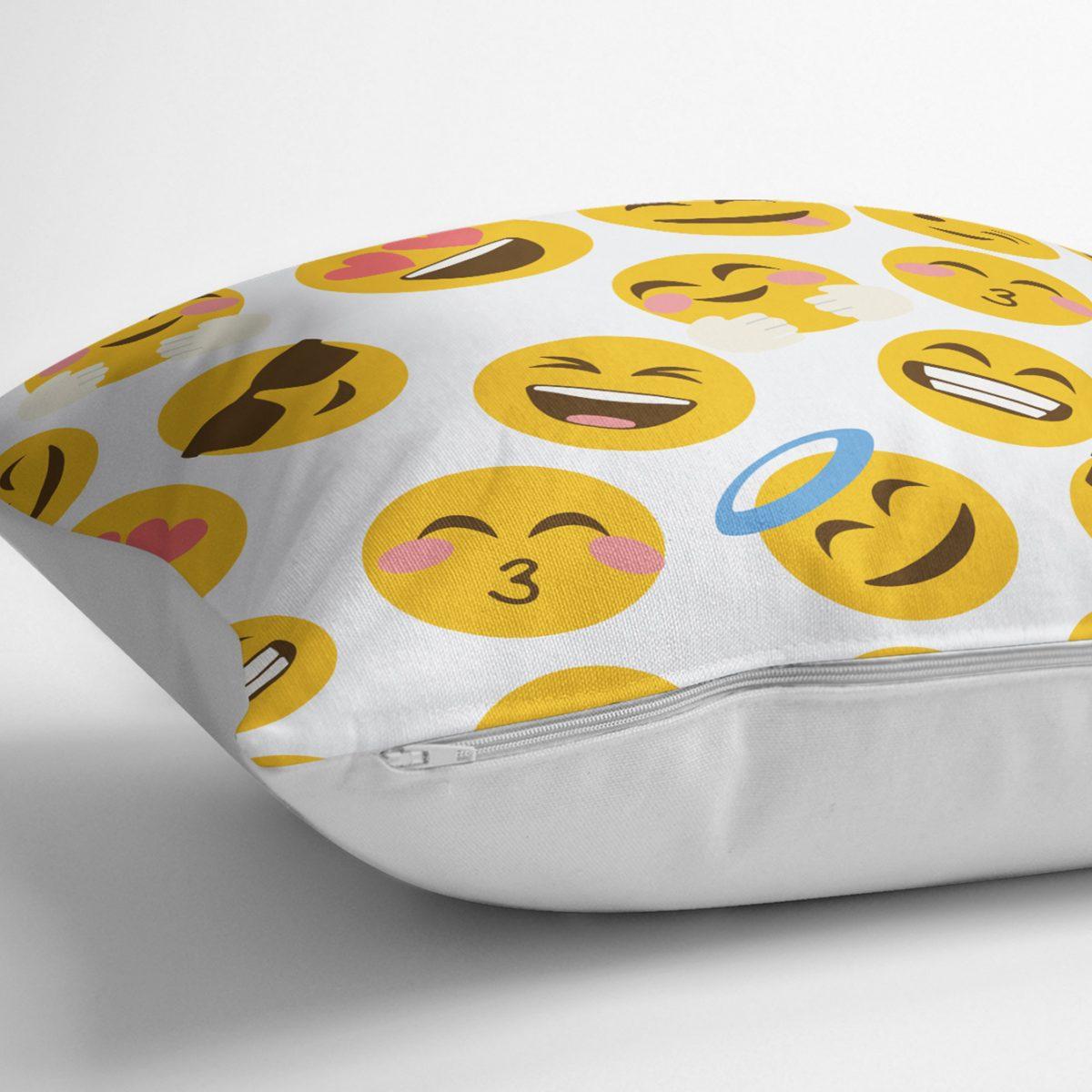 Realhomes Emoji Dijital Baskılı Modern Kırlent Kılıfı Realhomes