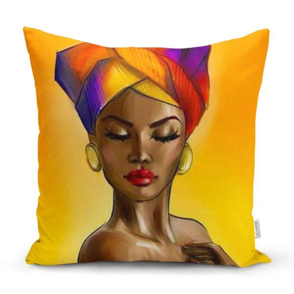 Afrika Kadın Motifli Dekoratif Yastık Kırlent Kılıfı Realhomes