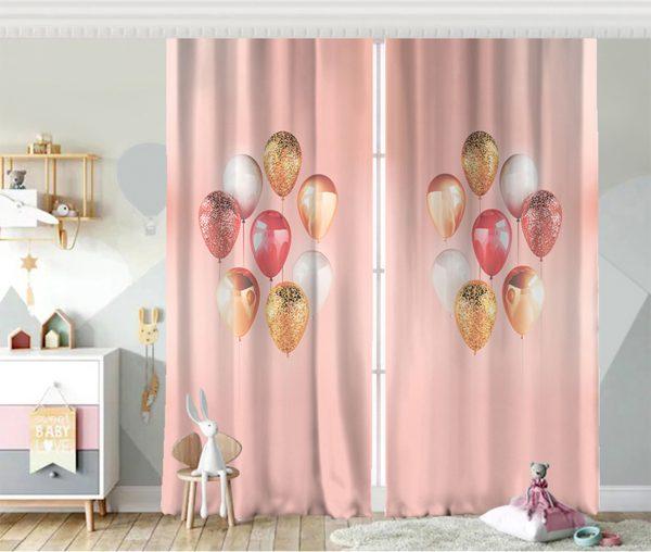 Pembe Zeminli Balonlar Desenli Bebek Odası Fon Perde Realhomes