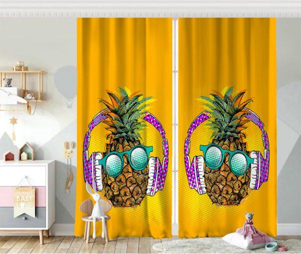 Summer Ananas Tasarımlı Bebek Odası Fon Perde Realhomes