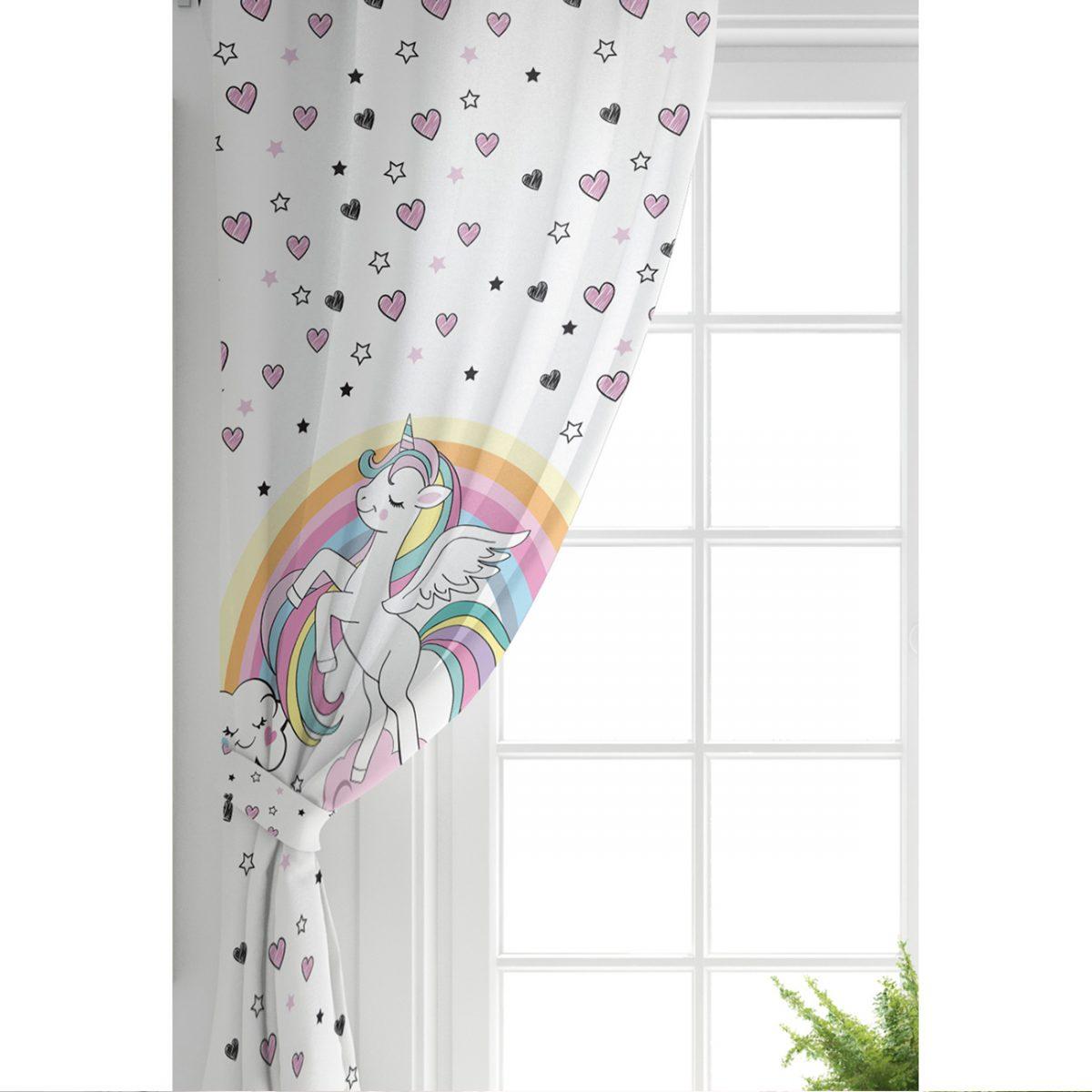 Beyaz Zeminde Unicorn At ve Yıldızlar Çocuk Odası Fon Perde Realhomes