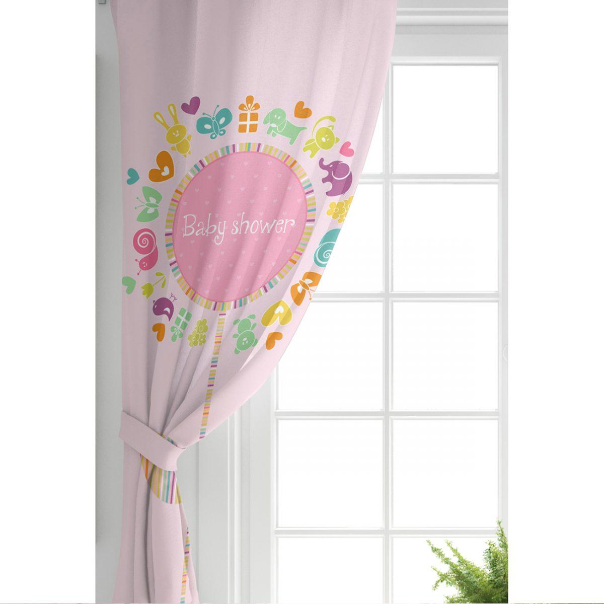Pembe Zeminde Baby Shower Tasarımlı Çocuk Odası Fon Perde Realhomes