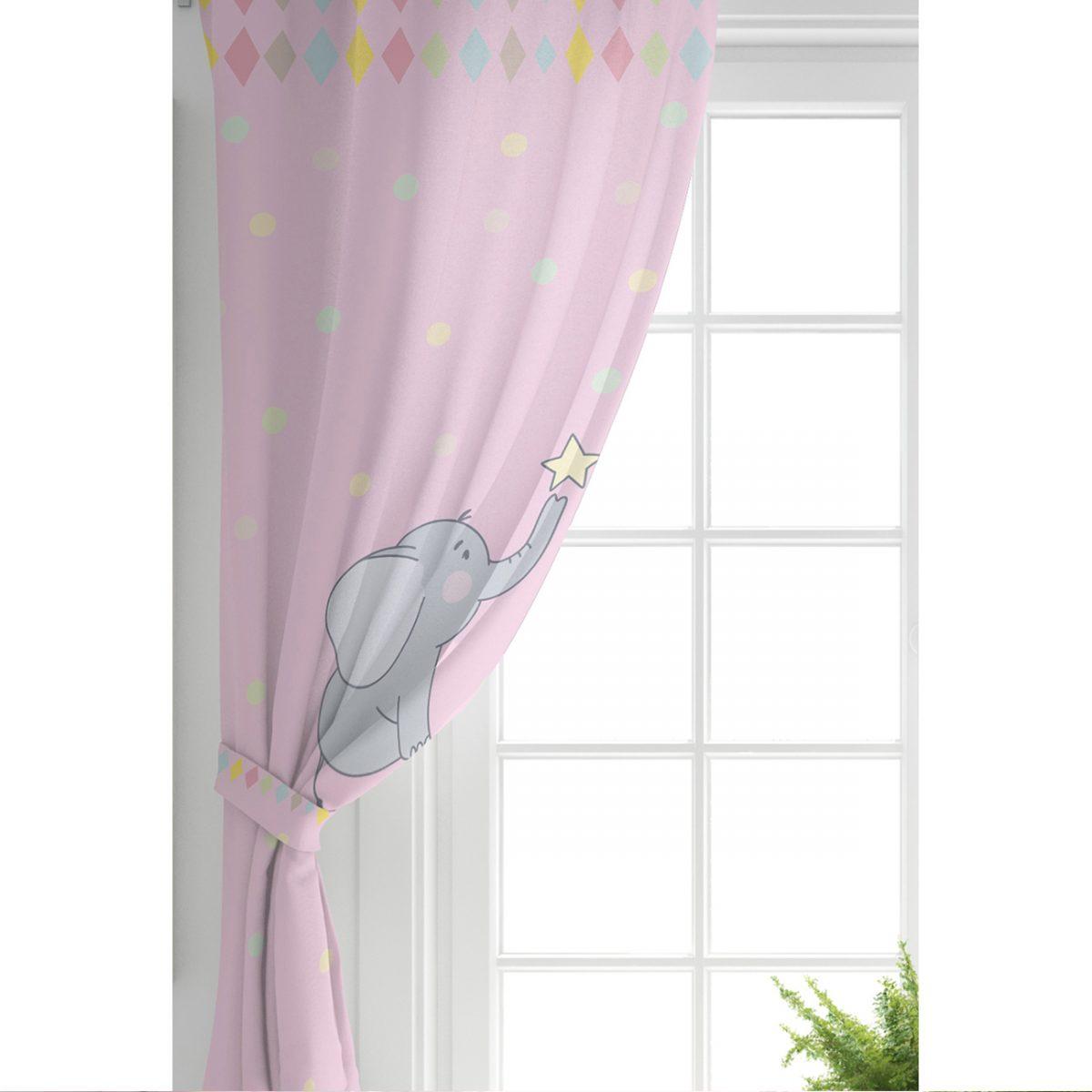 Sevimli Fil Baby Shower Tasarımlı Çocuk Odası Fon Perde Realhomes