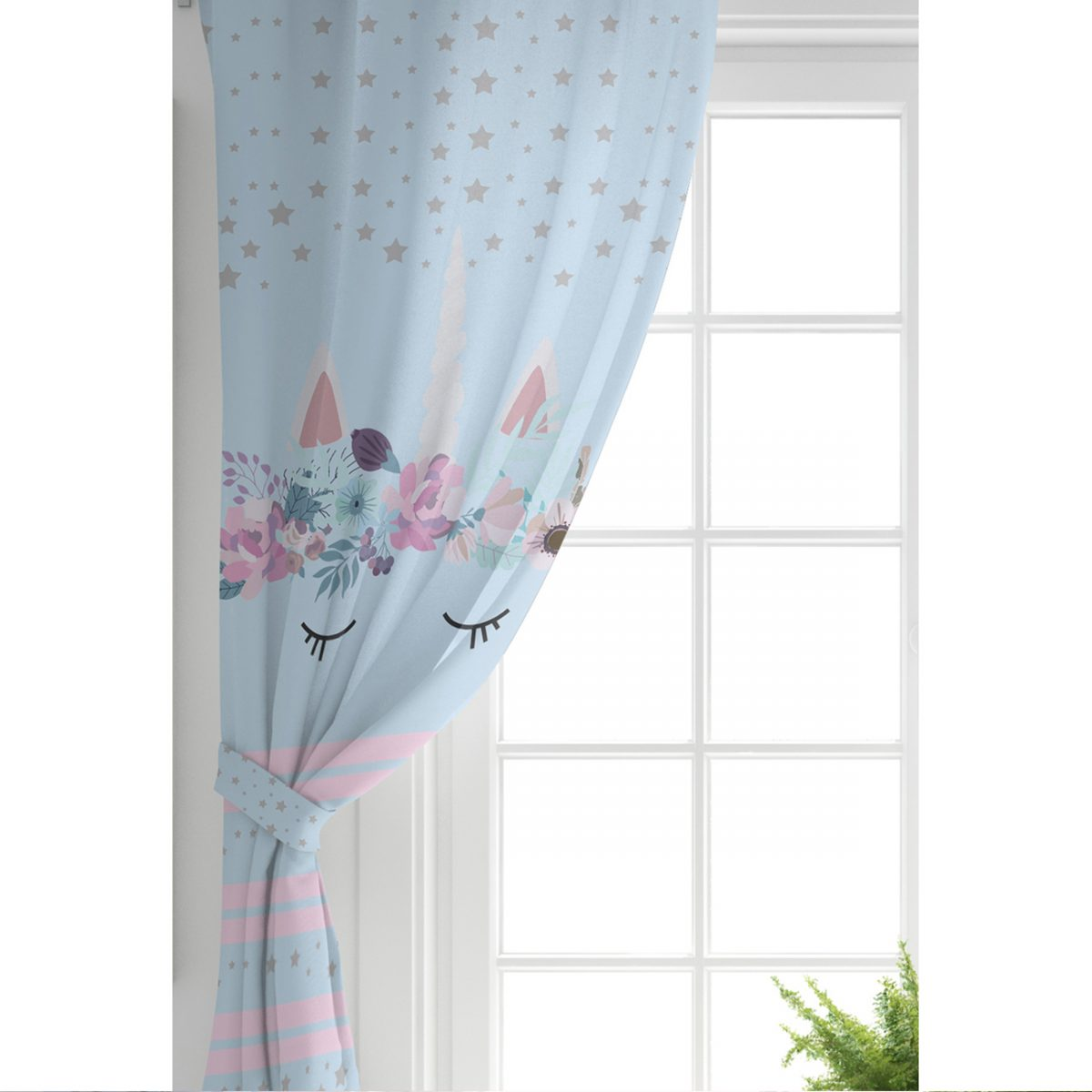 Mavi Zeminde Baby Shower Özel Tasarım Çocuk Odası Fon Perde Realhomes