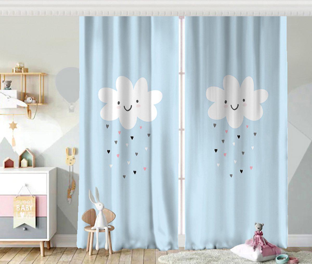 Mavi Zeminde Yalnız Bulut Çocuk Odası Fon Perde Realhomes