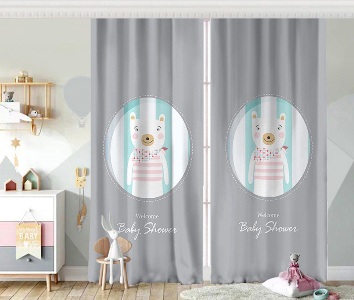 Welcome Baby Shower Temalı Sevimli Ayıcık Çocuk Odası Fon Perde Realhomes