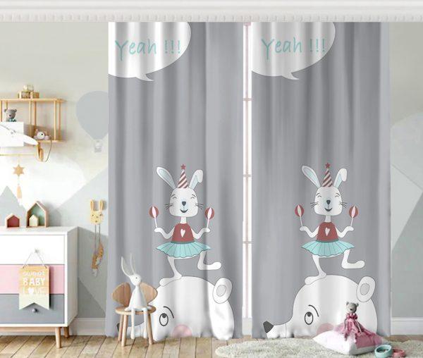 Sevimli Sirk Tavşanı Çocuk Odası Fon Perde Realhomes