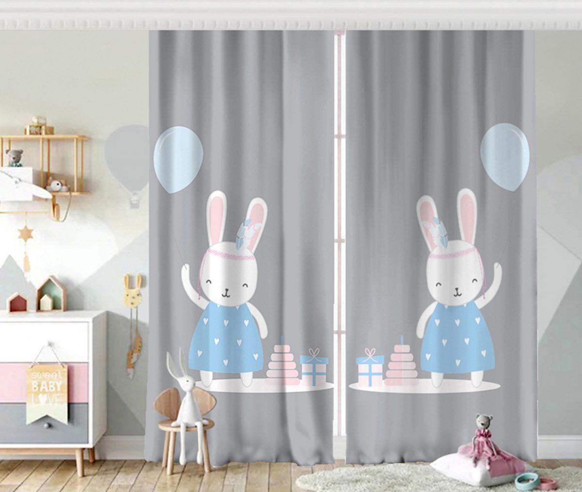Gri Zeminde Balonlu Sevimli Tavşan Çocuk Odası Fon Perde Realhomes