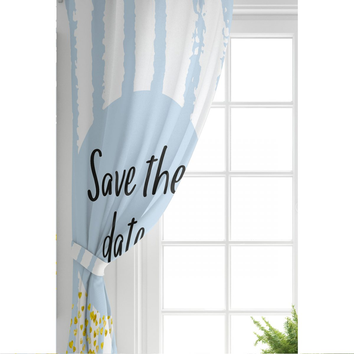Mavi Zeminde Save The Date Motifli Çocuk Odası Fon Perde Realhomes