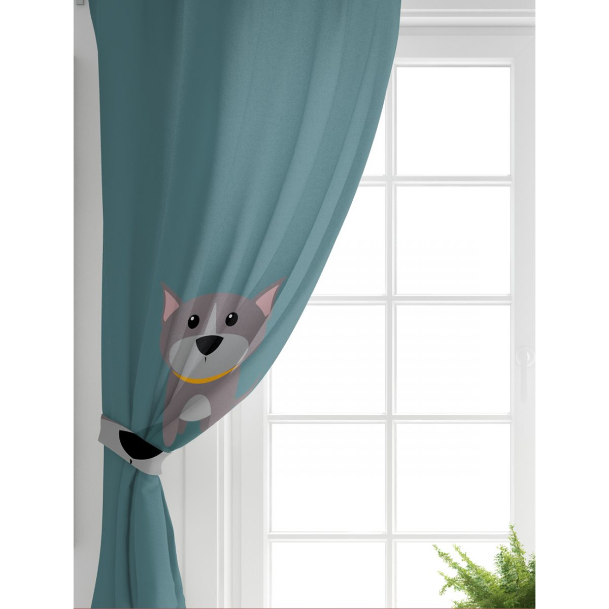 Realhomes Köpek Desenli Dijital Baskılı Modern Çocuk Odası Fon Perde Realhomes