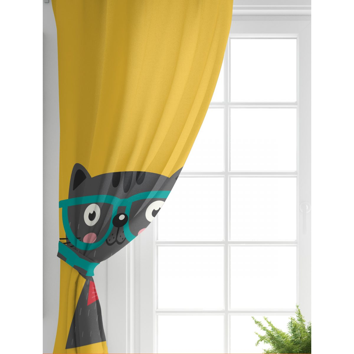 Realhomes Renkli Kedi Dijital Baskılı Modern Çocuk Odası Fon Perde Realhomes