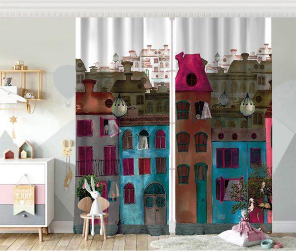 Ev Motifli Dijital Baskılı Çocuk Odası Fon Perde Realhomes