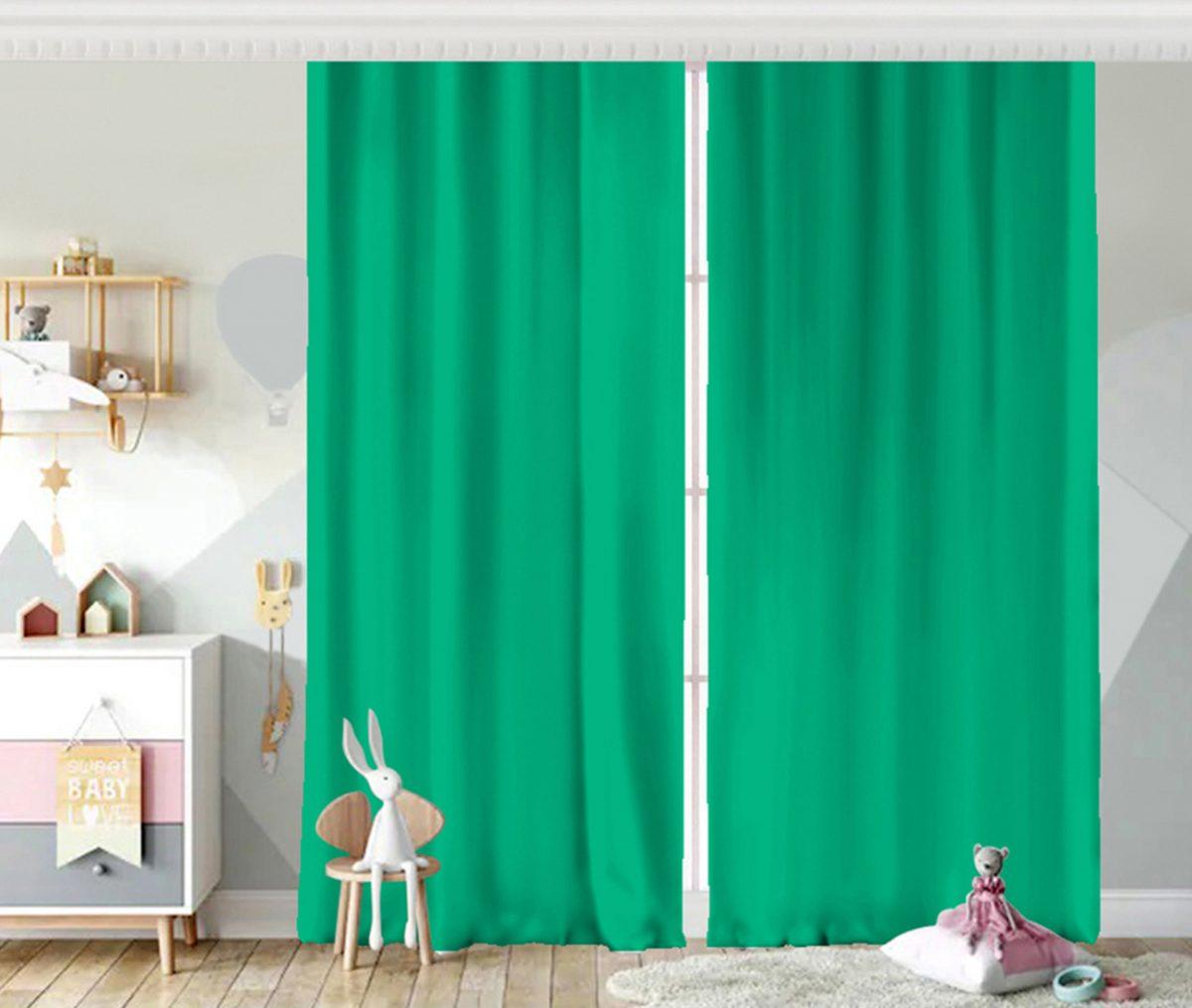 RealHomes Düz Açık Yeşil Renkli Dijital Baskılı Çocuk Odası Fon Perde Realhomes