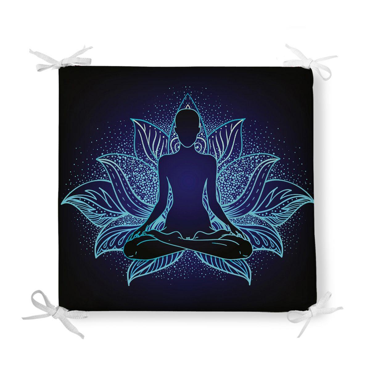 Mavi Neon Motifli Yoga Desenli Özel Tasarım Fermuarlı Sandalye Minderi Realhomes