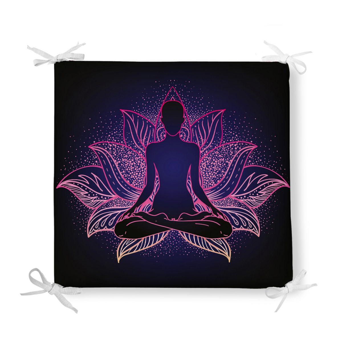 Pembe Neon Motifli Uzak Doğu Yoga Desenli Fermuarlı Sandalye Minderi Realhomes