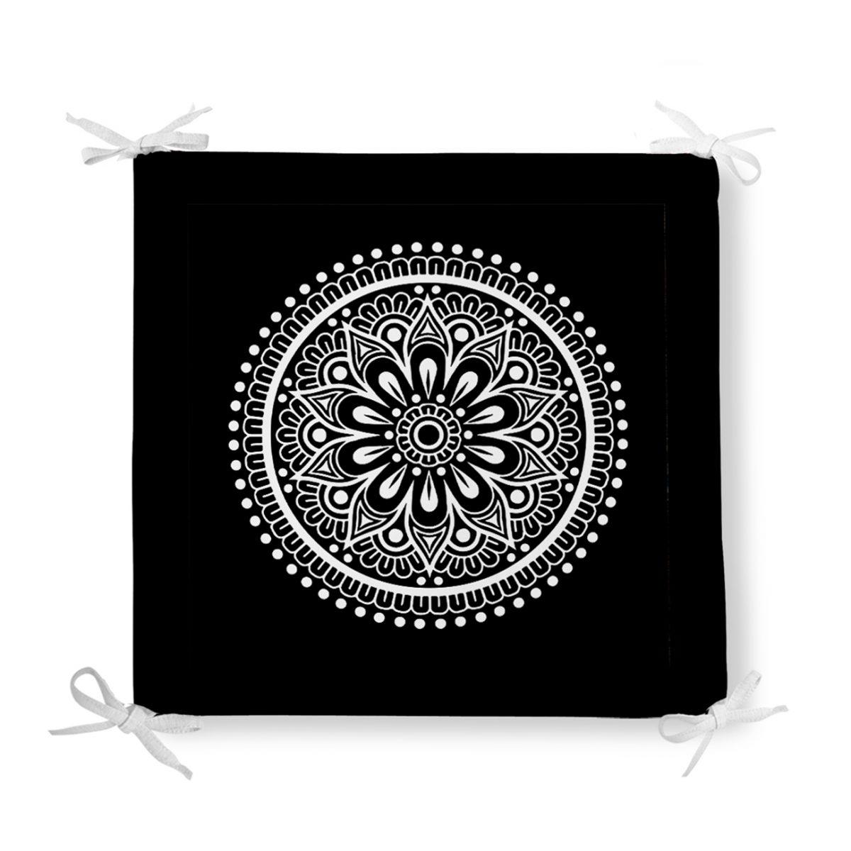 Siyah Beyaz Çiçek Desenli Mandala Motifli Fermuarlı Sandalye Minderi Realhomes