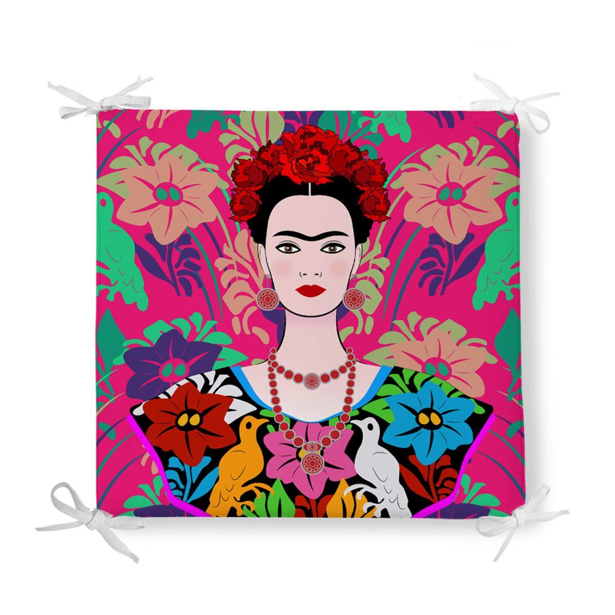 Fuşya Zeminde Frida Kahlo Motifli Özel Tasarım Fermuarlı Sandalye Minderi Realhomes