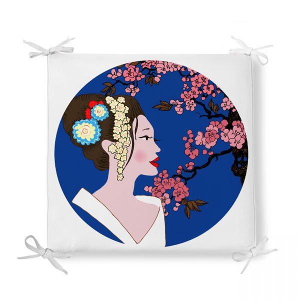 Çiçek Motifli Japon Kız Desenli Dekoratif Fermuarlı Sandalye Minderi Realhomes