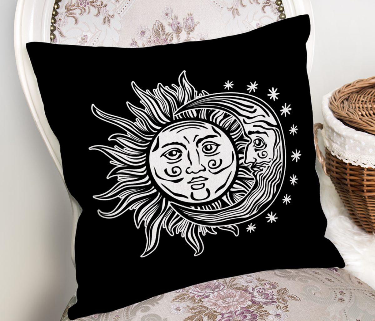 Güneş Ay Yıldızlı Dekoratif Kırlent Kılıfı Realhomes