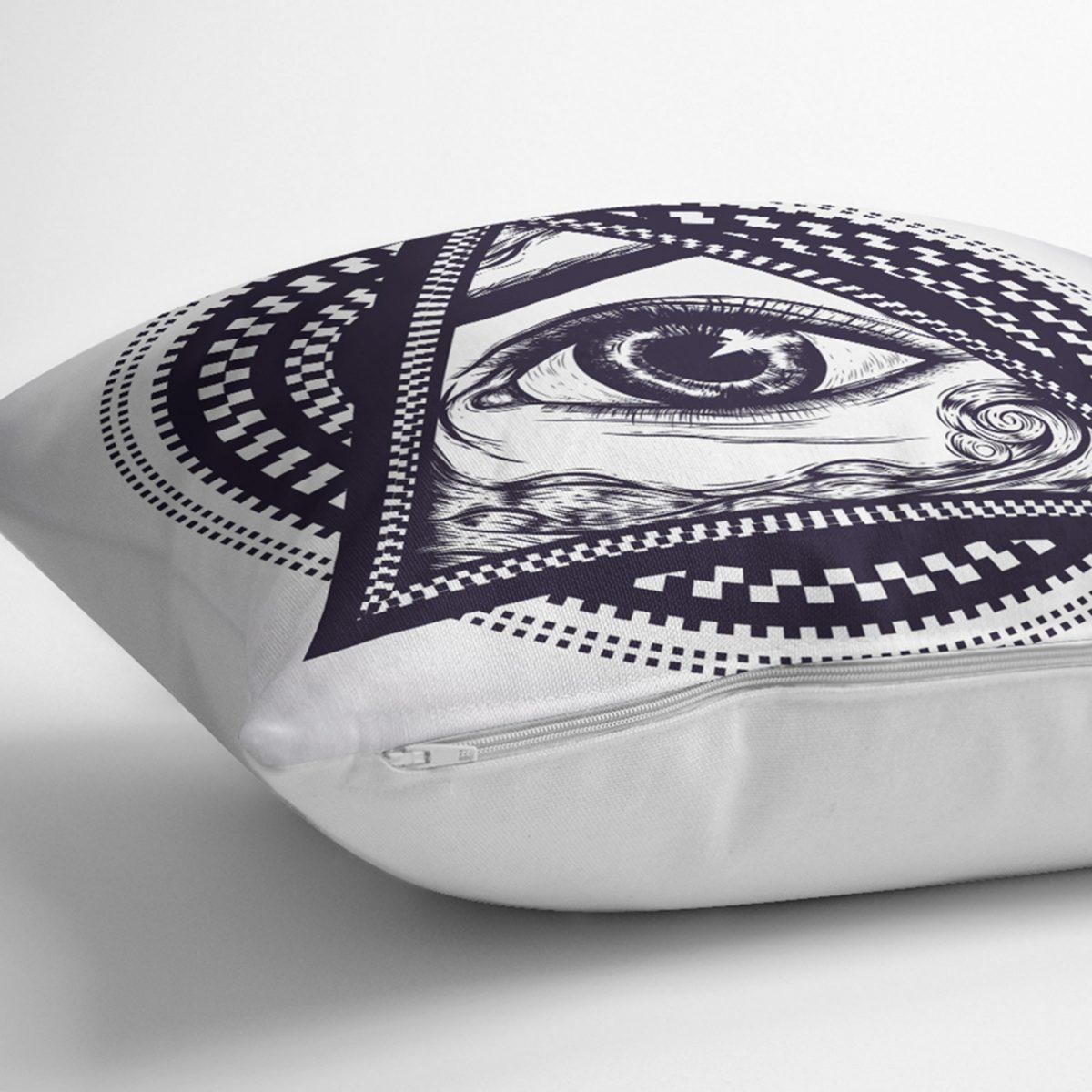 Beyaz Zeminde Lacivert Üçüncü Göz Dijital Baskılı Dekoratif Yastık Kırlent Kılıfı Realhomes
