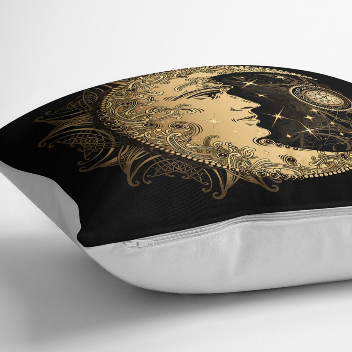 RealHomes Özel Tasarım Gold Ay Desenli Saat Kırlent Kılıfı Realhomes