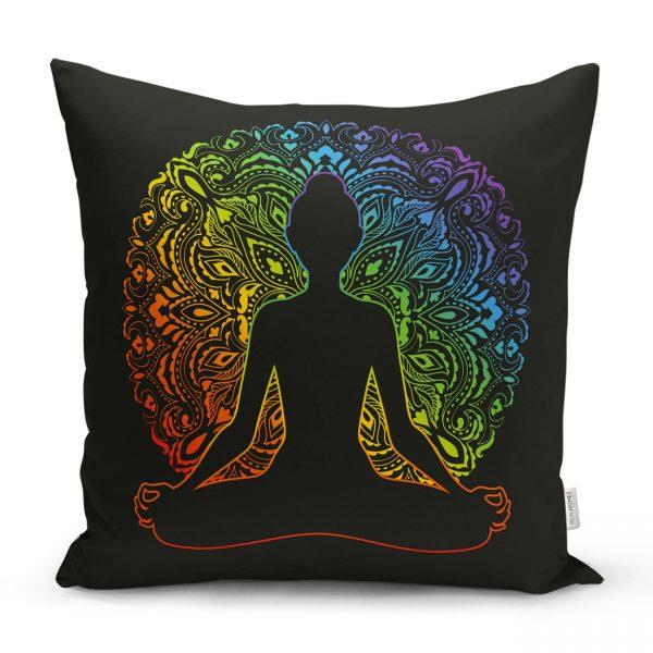 Siyah Zeminde Gökkuşağı Motifli Uzak Doğu Yoga Desenli Kırlent Kılıfı Realhomes