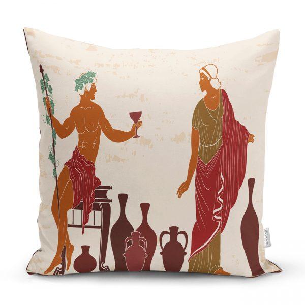 Şarap İçen Mısır Tanrıçaları Desenli Kırlent Kılıfı Realhomes