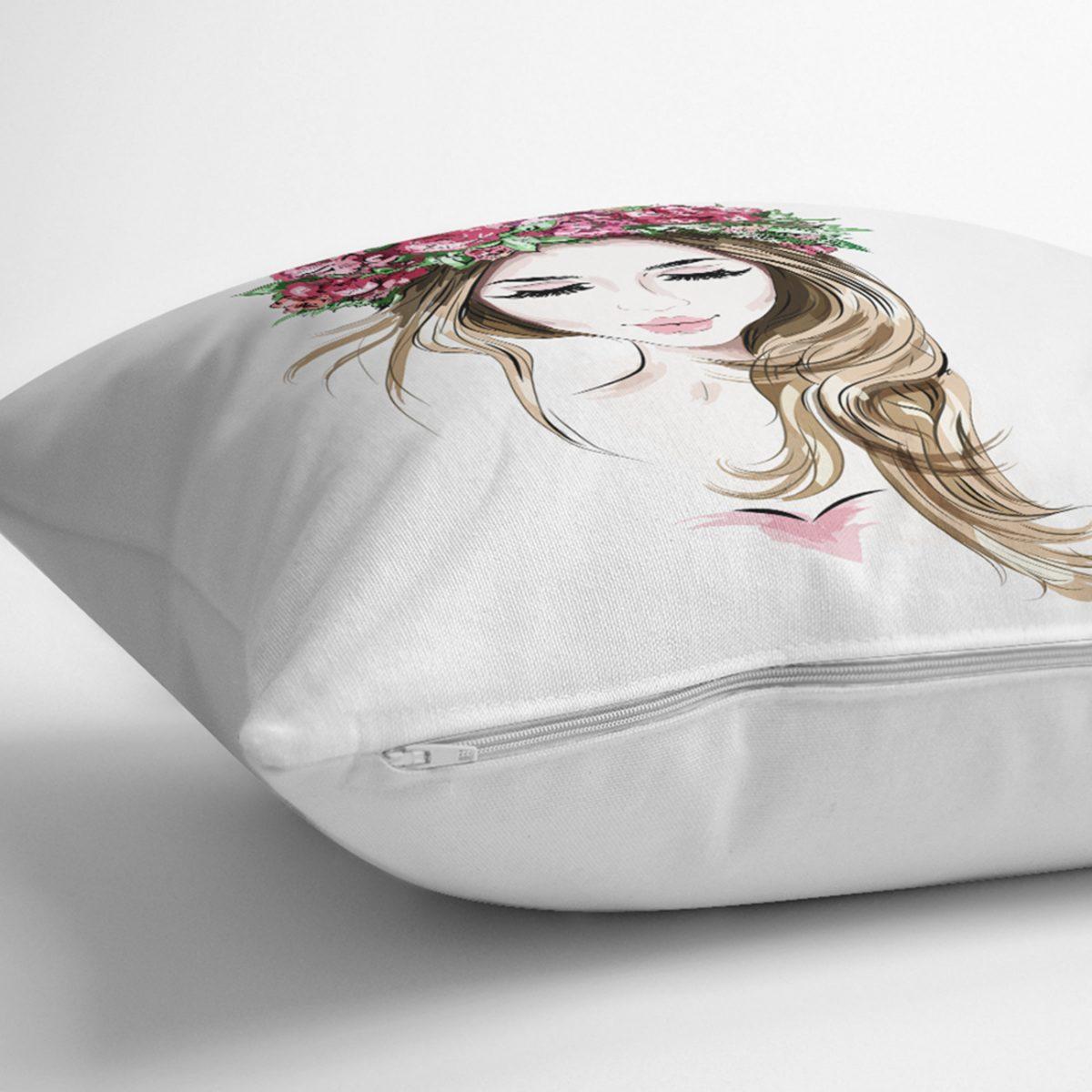 Beyaz Zeminde Rankli Kalem Çizimli Dekoratif Modern Yastık Kılıfı Realhomes