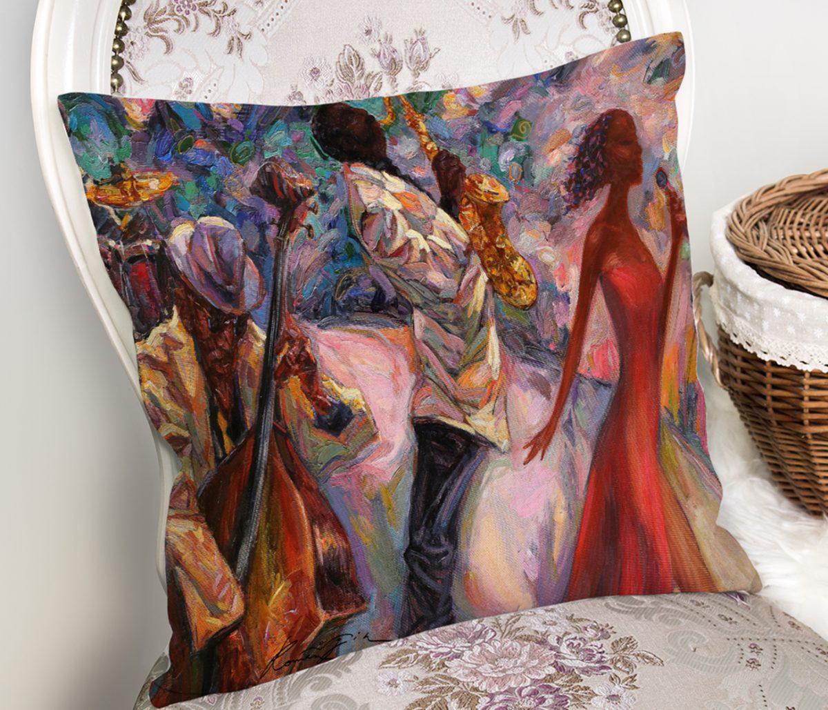 Yağlı Boya Çizimli Kadın Motifli Modern Kırlent Kılıfı Realhomes