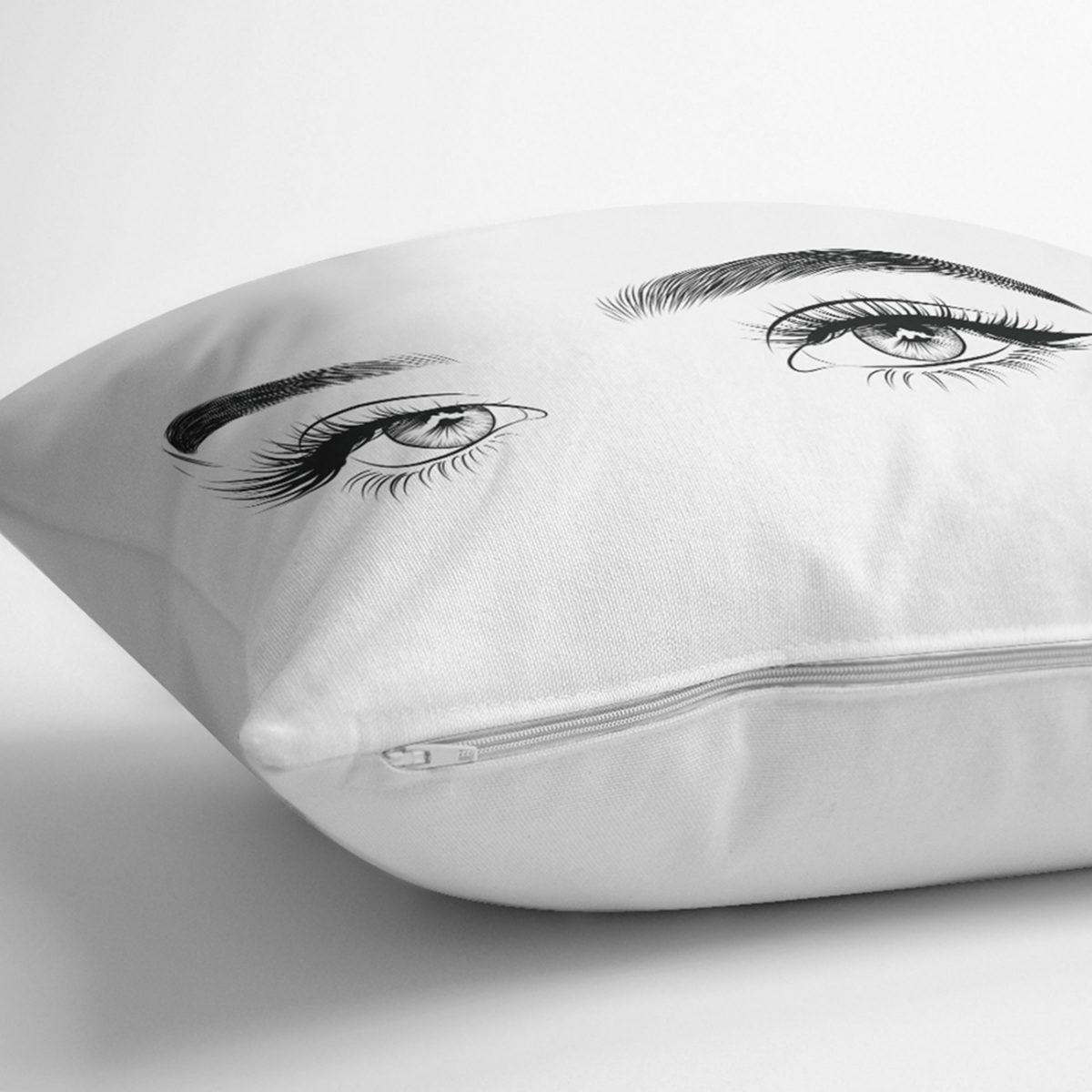 RealHomes Beyaz Zeminde Kirpik Motifli Özel Tasarım Yastık Kılıfı Realhomes