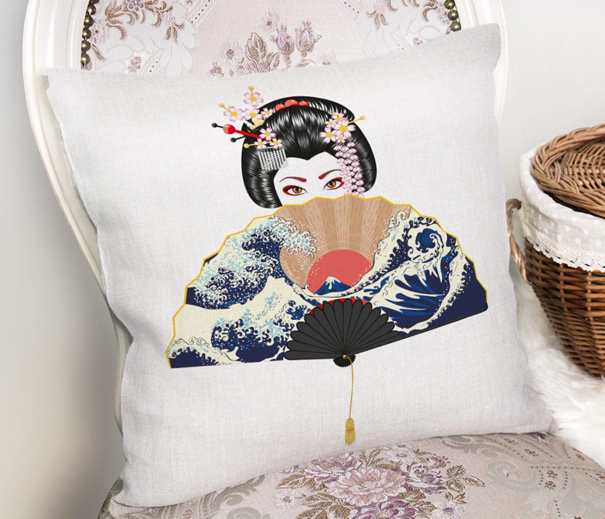 Yelpazali Japan Kadın Motifli Dekoratif Yastık Kılıfı Realhomes