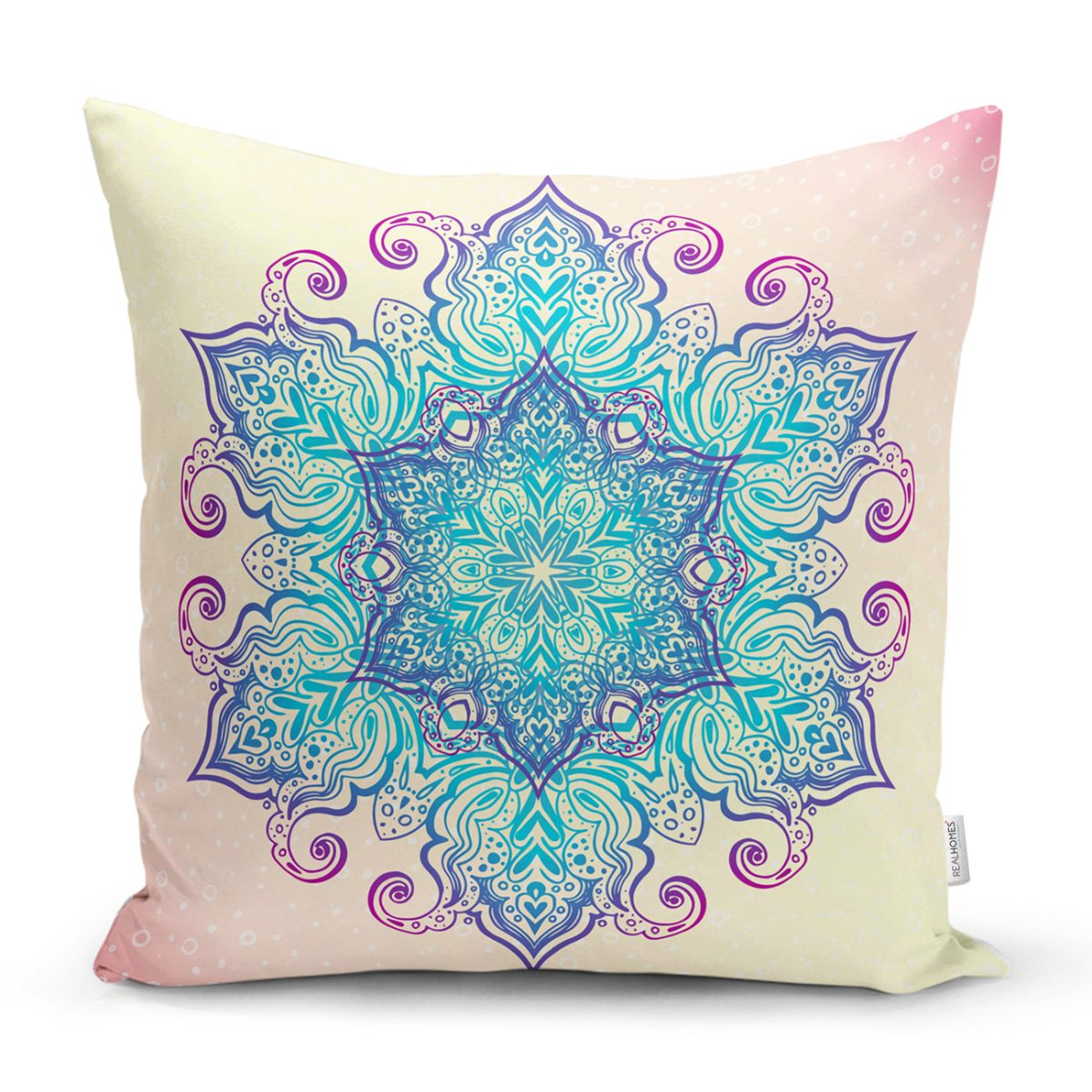 Pembe Zeminde Mavi Mandala Çizimli Modern Yastık Kılıfı Realhomes