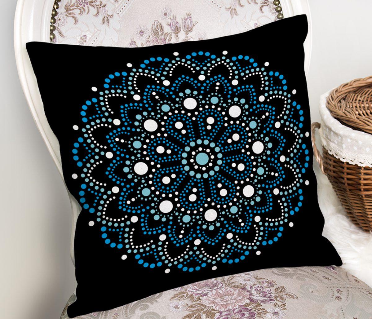 Siyah Zeminde Mavi Boncuklu Mandala Dekoratif Yastık Kılıfı Realhomes