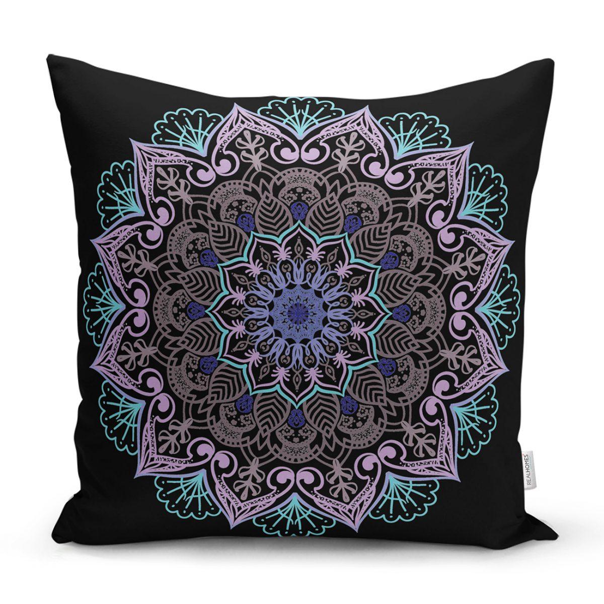 Siyah Zeminde Pembe Mavi Mandala Desenli Modern Yastık Kılıfı Realhomes